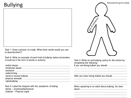 Bullying Worksheet by mjprestshaw Teaching Resources TES – Bullying Worksheets for Kindergarten