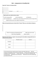 Differenitiated diet worksheet