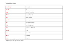Fronted adverbials practice
