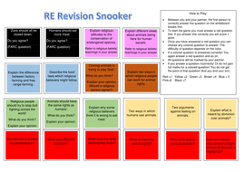 Revision snooker AQA Religion and Life Issues