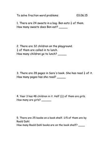 Year 3 Fraction Word Problems by rachel0704 - Teaching Resources - Tes