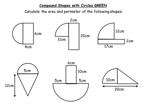 Area of a circle semi circle quarter and composite KS3 by – Area of Composite Figures Worksheets