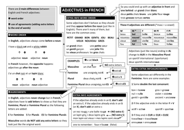 Adjective endings in French for KS3