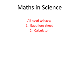 Science calculations using the data sheet
