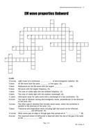 EM Wave Properties crossword quick starter activity
