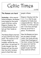 Roman invasion of Britain newspaper model recount text.