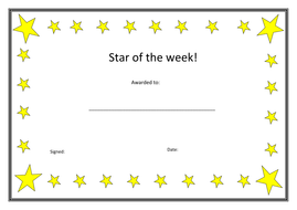 Star of the week certificates.