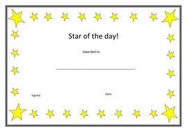 Star of the day certificate.