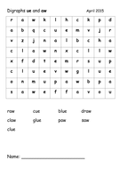 ue and aw word search