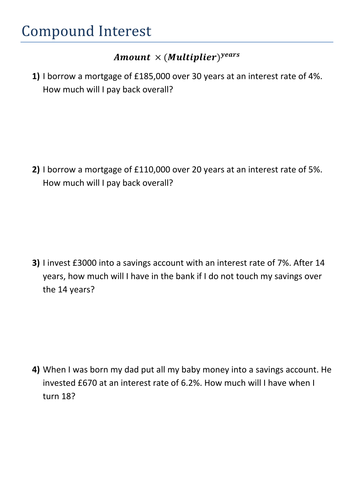 Compound Interest and Depreciation by kirbybill - Teaching ...