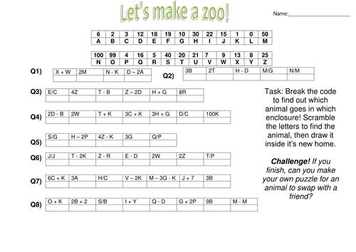 Algebra Zoo fun substitution worksheet by CaptainLoui Teaching – Substitution Worksheet