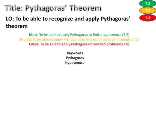 Pythagoras worksheet Differentiated levelled and with answers – Pythagorean Theorem Worksheet with Answers
