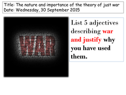 The nature and importance of the theory of just war