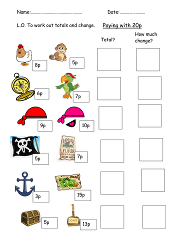 Pirate money and change lesson by clara5 - Teaching Resources - Tes