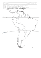 Locate South American countries on blank map
