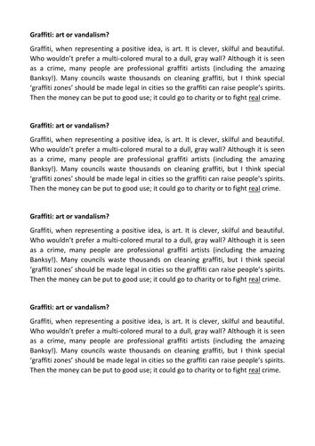 graffiti art or vandalism persuasive writing by jamestickle graffiti art or vandalism persuasive writing by jamestickle86 teaching resources tes