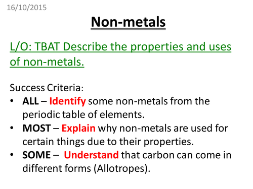 NonMetals by pbrooks89 Teaching Resources Tes – Properties of Metals and Nonmetals Worksheet