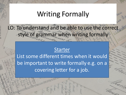 Writing formally
