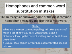 Homophones and spelling mistakes