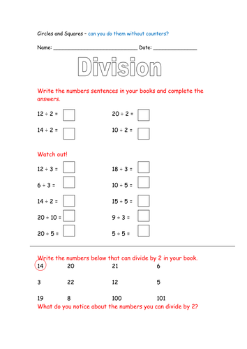 Daycare Worksheets Printable Introduction To Division Year  By Rosiems  Teaching Resources  Tes Adverb Or Preposition Worksheet Pdf with Simple Predicate Worksheets  Advanced English Worksheets