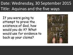 Aquinas- the cosmological argument- 5 ways