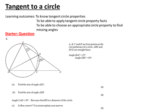 Circle theorem lesson pack by jad518nexus Teaching Resources Tes – Tangents to Circles Worksheet