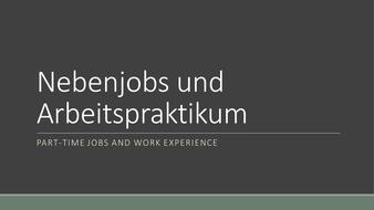 Nebenjobs & Arbeitspraktikum