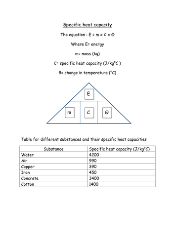 Printables Specific Heat Capacity Worksheet specific heat and capacity worksheet davezan plustheapp