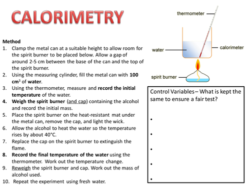 Calorimetry Practical and Analysis by gemmad Teaching Resources – Calorimetry Worksheet
