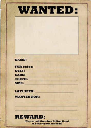 Wanted Poster Template by joeroberts89 - Teaching Resources - Tes