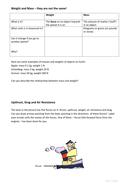 Weight Mass Upthrust Drag worksheet KS3