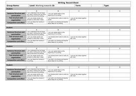 Writing  Record Sheet Towards 1b.docx