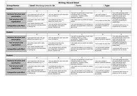 Writing  Record Sheet Towards 3a.docx