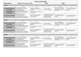 Writing  Record Sheet Towards 4a.docx