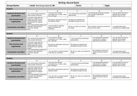 Writing  Record Sheet Towards 4b.docx