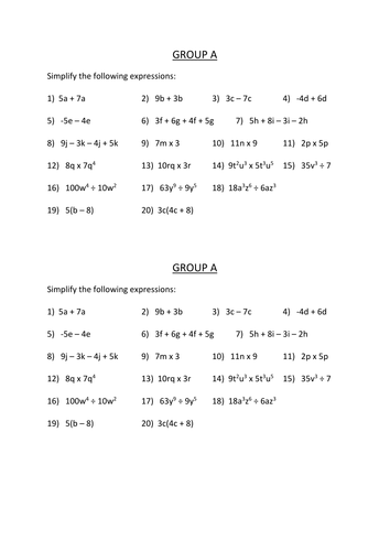 Worksheet Simplify Algebraic Expressions Worksheet simplifying expressions by dannytheref teaching resources tes