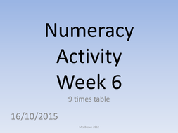 Numeracy activities for tutor time times tables