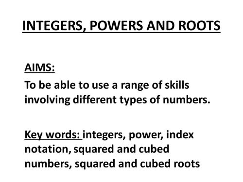 integers powers and roots 1 by giovi - Teaching Resources - TES