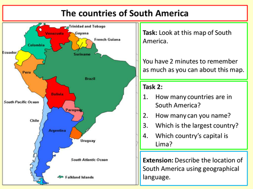 The countries of South America by chri2834 - Teaching Resources - TES