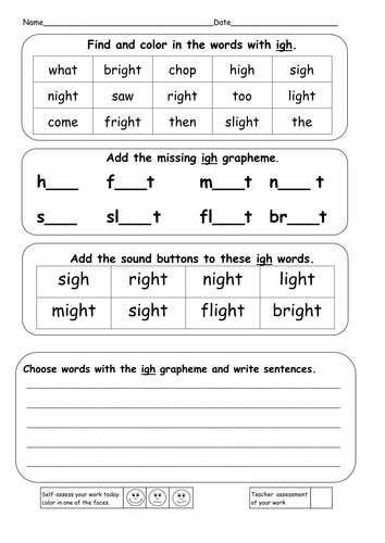 Worksheets Igh Words Phonics phonics ie igh i e and y powerpoints resources by ruthbentham teaching tes