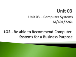 Unit 03 - LO2 - Be able to Recommend Computer Systems for a Business Purpose.pptx