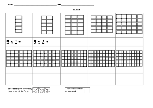 Arrays 5 time tables by ruthbentham Teaching Resources Tes – 5 Multiplication Table Worksheet