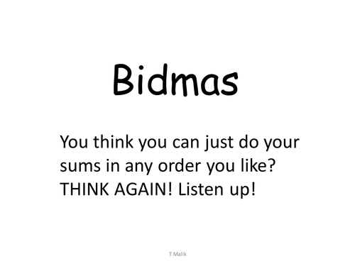BIDMAS - Order of Operations - Lesson + Game by tamoor - Teaching ...