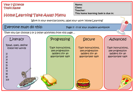 home learning take away menu template