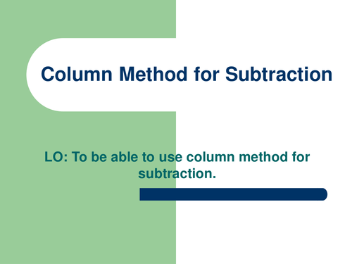 YEAR 3 COLUMN SUBTRACTION by abegum5002 Teaching Resources TES – Column Method Subtraction Worksheet