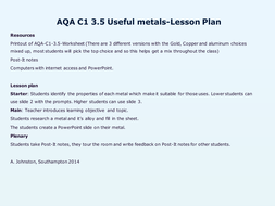 AQA-C1-3-Metals and their uses