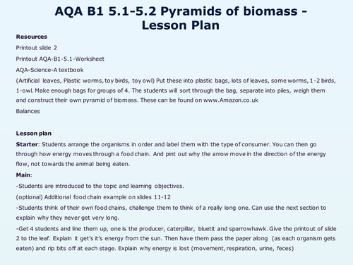 AQAB15Energy in biomass by WonderCaliban Teaching Resources Tes – Energy Pyramid Worksheet