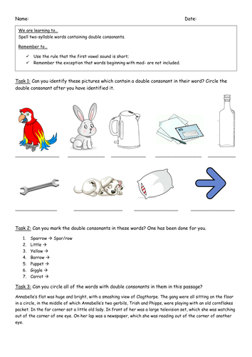 Double consonant words - worksheet by Katienorth1411 - Teaching ...