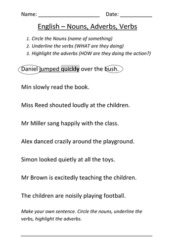 Worksheet Nouns Verbs And Adverbs By Mignonmiller Teaching Resources