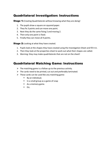 Quadrilaterals Investigation and Matching Game by Stuckling ...